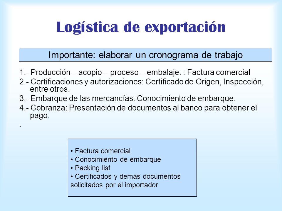 Logística de exportación 1.- Producción – acopio – proceso – embalaje. : Factura comercial 2.- Certificaciones y autorizaciones: Certificado de Origen