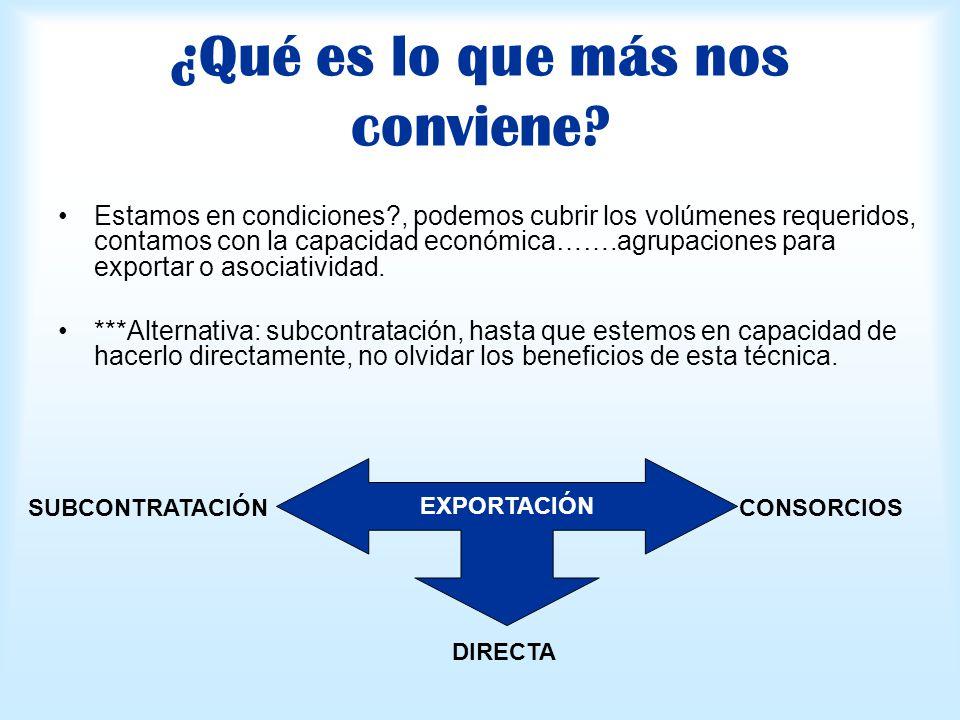 ¿Qué es lo que más nos conviene? Estamos en condiciones?, podemos cubrir los volúmenes requeridos, contamos con la capacidad económica…….agrupaciones