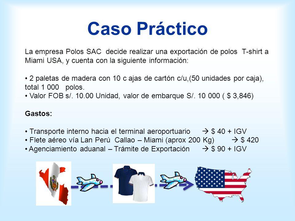 Caso Práctico La empresa Polos SAC decide realizar una exportación de polos T-shirt a Miami USA, y cuenta con la siguiente información: 2 paletas de m