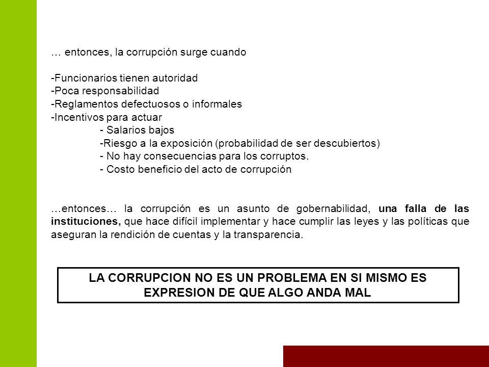 … entonces, la corrupción surge cuando -Funcionarios tienen autoridad -Poca responsabilidad -Reglamentos defectuosos o informales -Incentivos para actuar - Salarios bajos -Riesgo a la exposición (probabilidad de ser descubiertos) - No hay consecuencias para los corruptos.