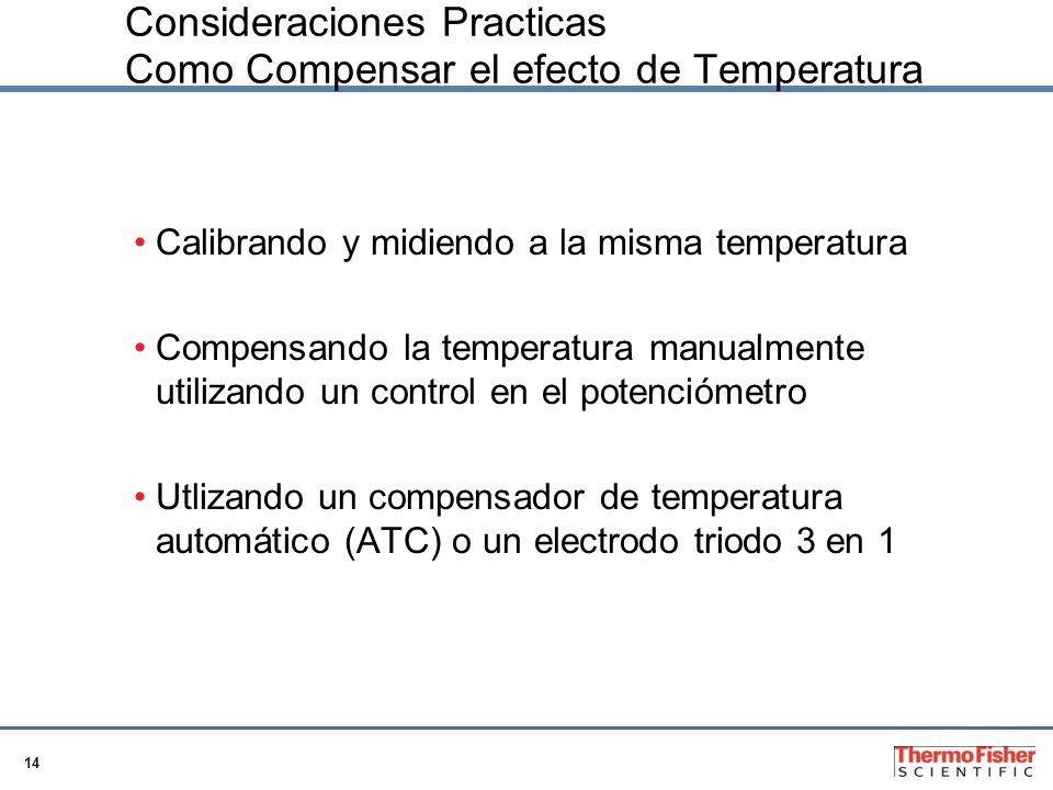 14 Consideraciones Practicas Como Compensar el efecto de Temperatura Calibrando y midiendo a la misma temperatura Compensando la temperatura manualmen