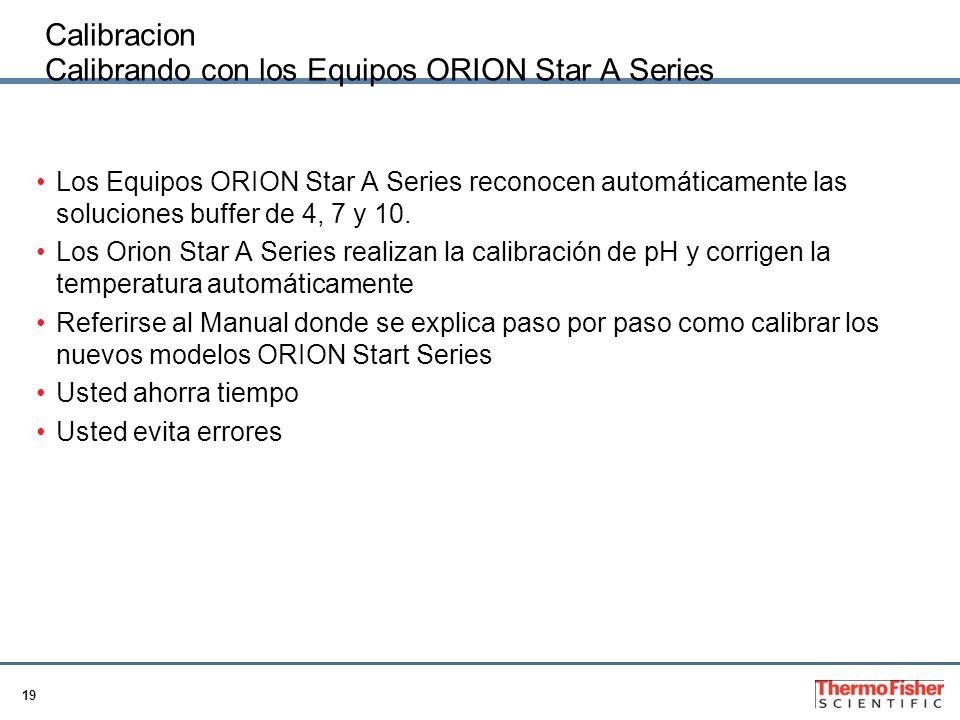19 Calibracion Calibrando con los Equipos ORION Star A Series Los Equipos ORION Star A Series reconocen automáticamente las soluciones buffer de 4, 7