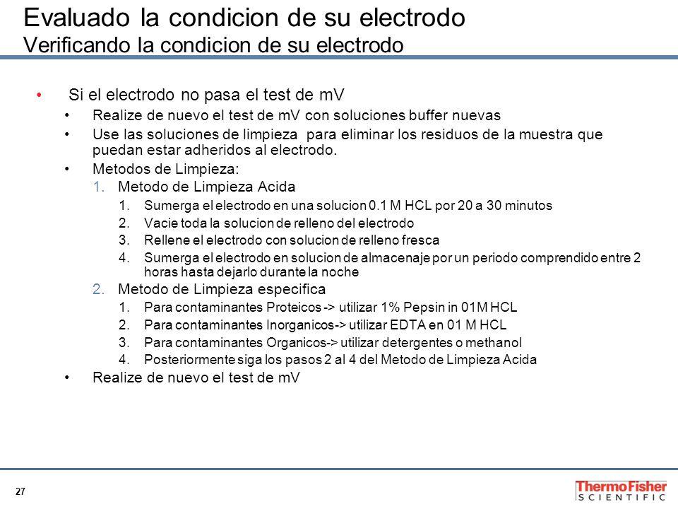 27 Evaluado la condicion de su electrodo Verificando la condicion de su electrodo Si el electrodo no pasa el test de mV Realize de nuevo el test de mV