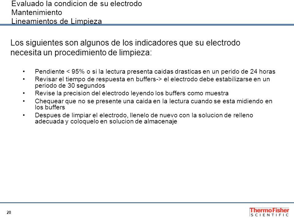 28 Evaluado la condicion de su electrodo Mantenimiento Lineamientos de Limpieza Los siguientes son algunos de los indicadores que su electrodo necesit