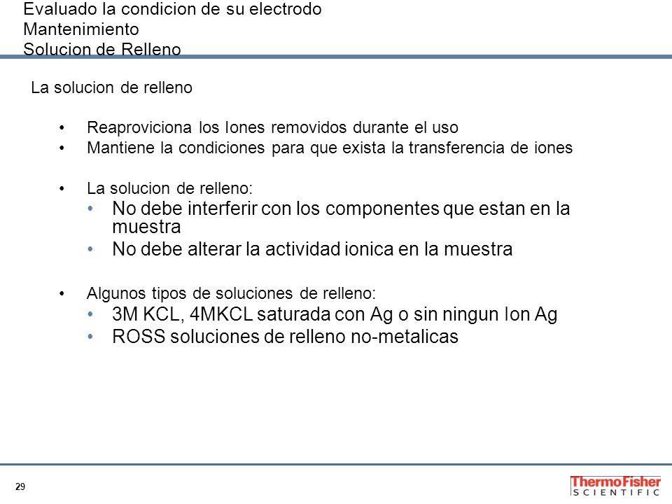 29 Evaluado la condicion de su electrodo Mantenimiento Solucion de Relleno La solucion de relleno Reaproviciona los Iones removidos durante el uso Man