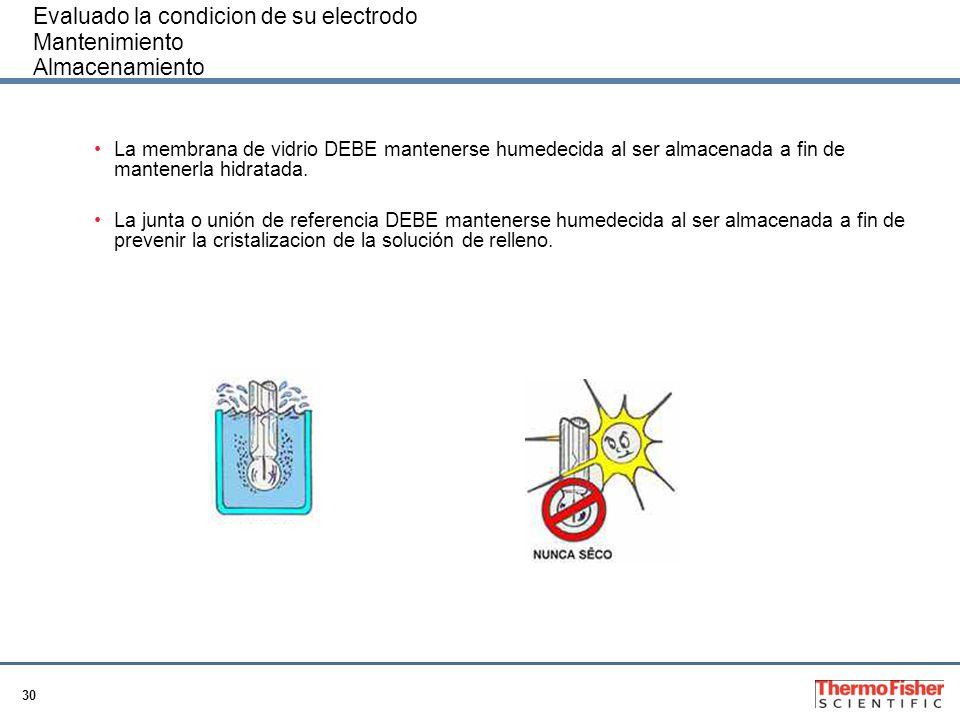 30 Evaluado la condicion de su electrodo Mantenimiento Almacenamiento La membrana de vidrio DEBE mantenerse humedecida al ser almacenada a fin de mant