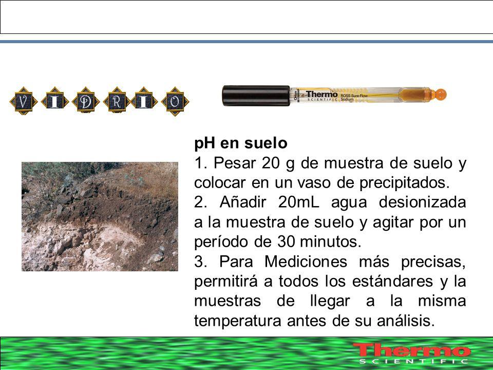 38 pH en suelo 1. Pesar 20 g de muestra de suelo y colocar en un vaso de precipitados. 2. Añadir 20mL agua desionizada a la muestra de suelo y agitar
