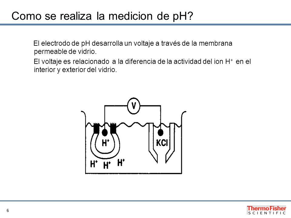 6 Como se realiza la medicion de pH? El electrodo de pH desarrolla un voltaje a través de la membrana permeable de vidrio. El voltaje es relacionado a