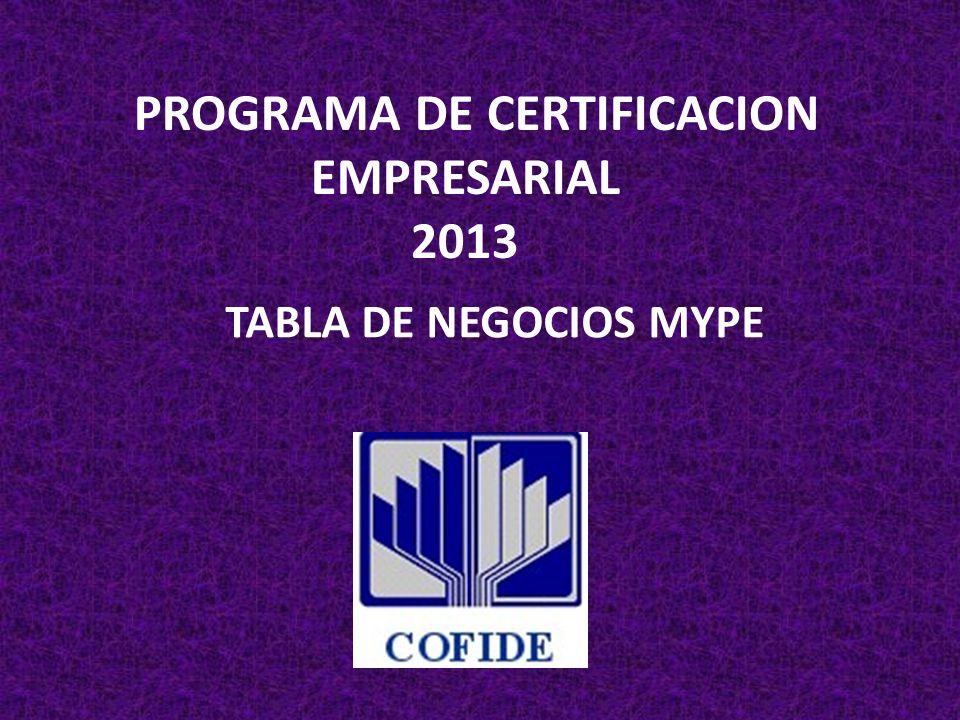 PROGRAMA DE CERTIFICACION EMPRESARIAL 2013 TABLA DE NEGOCIOS MYPE