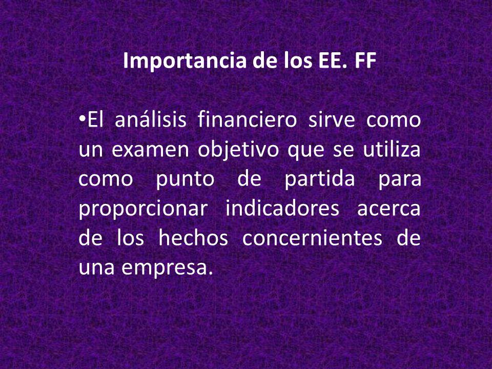 Importancia de los EE. FF El análisis financiero sirve como un examen objetivo que se utiliza como punto de partida para proporcionar indicadores acer