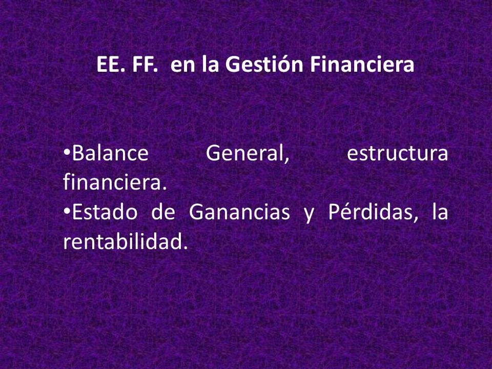 EE. FF. en la Gestión Financiera Balance General, estructura financiera. Estado de Ganancias y Pérdidas, la rentabilidad.