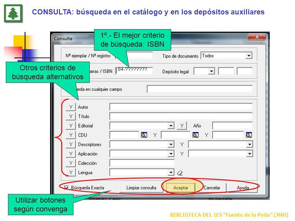 BIBLIOTECA DEL IES Fuente de la Peña (JMH) 1º.- El mejor criterio de búsqueda: ISBN Otros criterios de búsqueda alternativos Utilizar botones según co