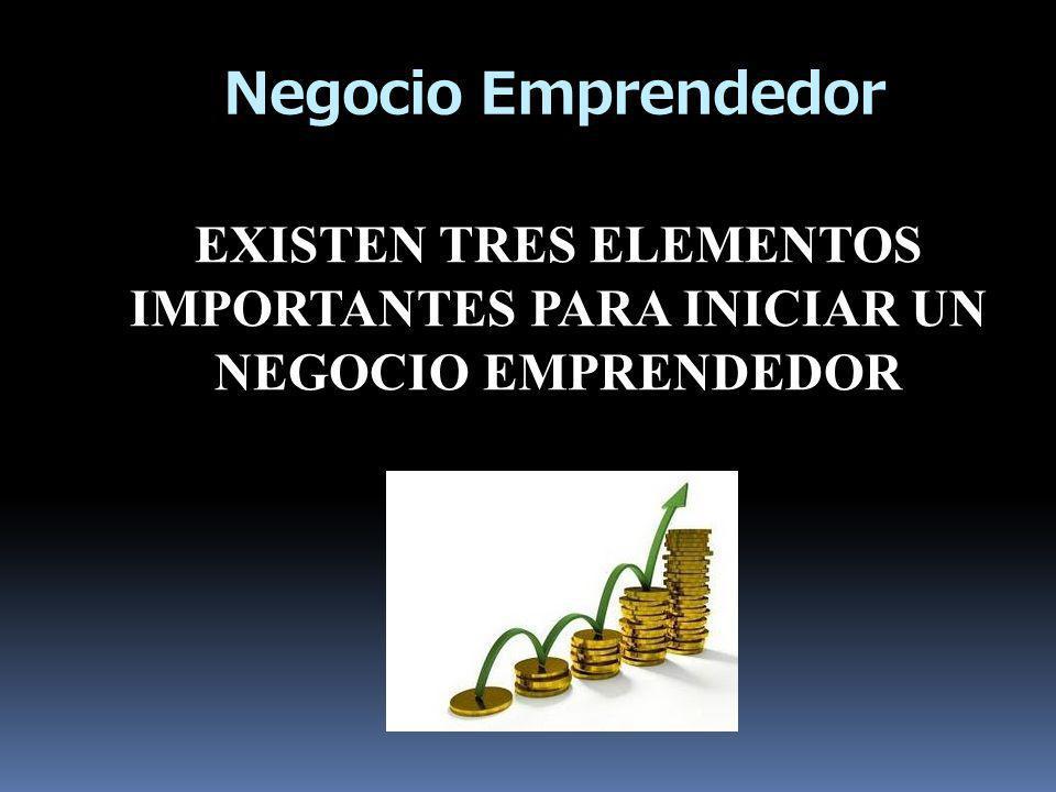 Negocio Emprendedor EXISTEN TRES ELEMENTOS IMPORTANTES PARA INICIAR UN NEGOCIO EMPRENDEDOR