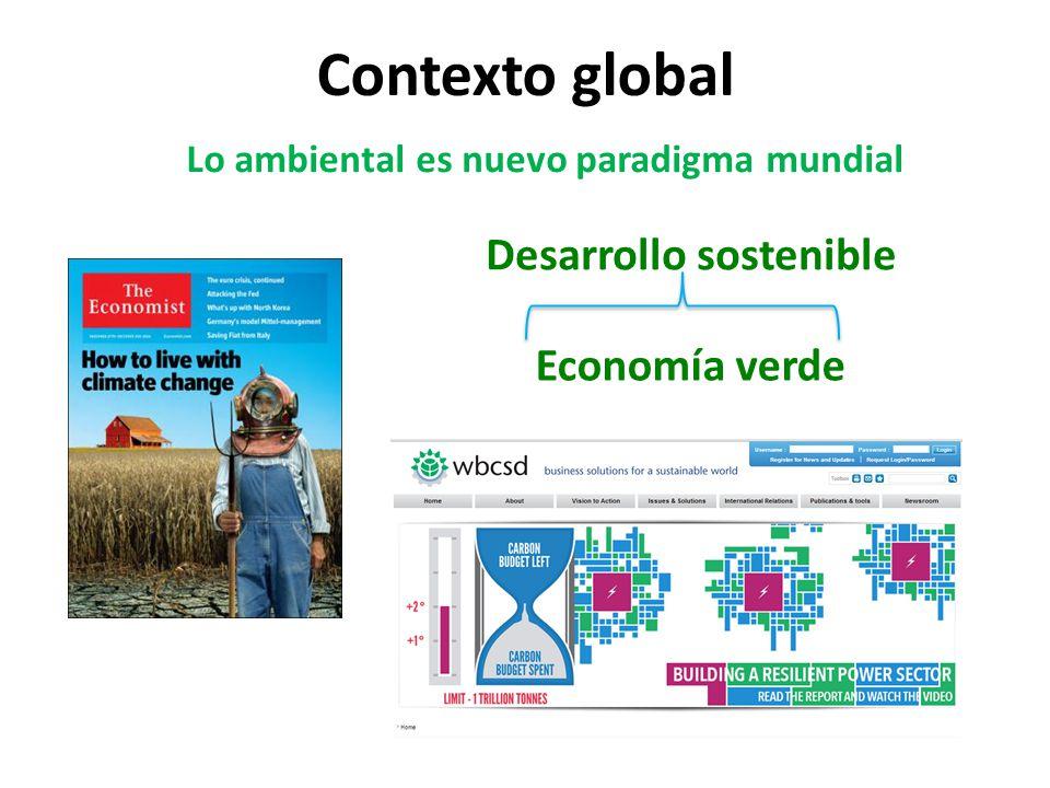 Contexto global Economía verde Lo ambiental es nuevo paradigma mundial Desarrollo sostenible