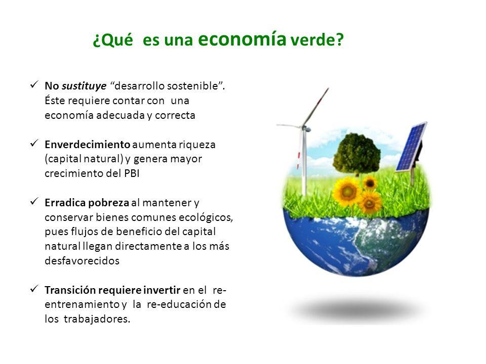 ¿Qué es una economía verde? No sustituye desarrollo sostenible. Éste requiere contar con una economía adecuada y correcta Enverdecimiento aumenta riqu