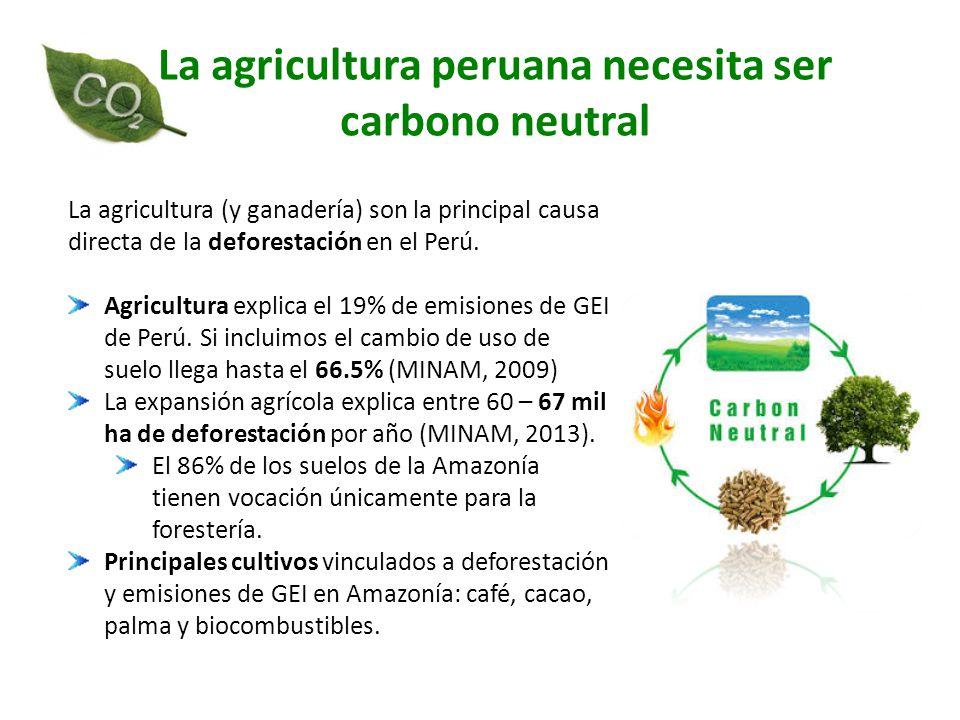 La agricultura peruana necesita ser carbono neutral La agricultura (y ganadería) son la principal causa directa de la deforestación en el Perú. Agricu