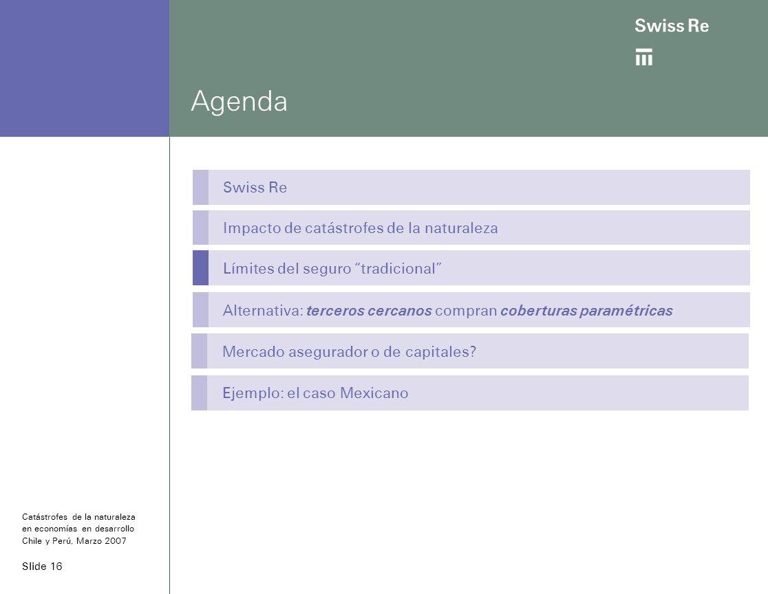 Slide 16 Agenda Swiss Re Impacto de catástrofes de la naturaleza Límites del seguro tradicional Alternativa: terceros cercanos compran coberturas paramétricas Catástrofes de la naturaleza en economías en desarrollo Chile y Perú, Marzo 2007 Mercado asegurador o de capitales.