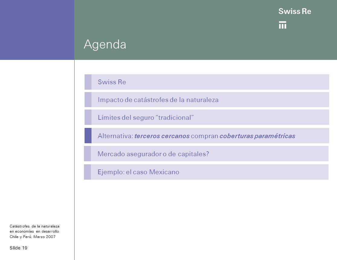Slide 19 Agenda Swiss Re Impacto de catástrofes de la naturaleza Límites del seguro tradicional Alternativa: terceros cercanos compran coberturas paramétricas Catástrofes de la naturaleza en economías en desarrollo Chile y Perú, Marzo 2007 Mercado asegurador o de capitales.