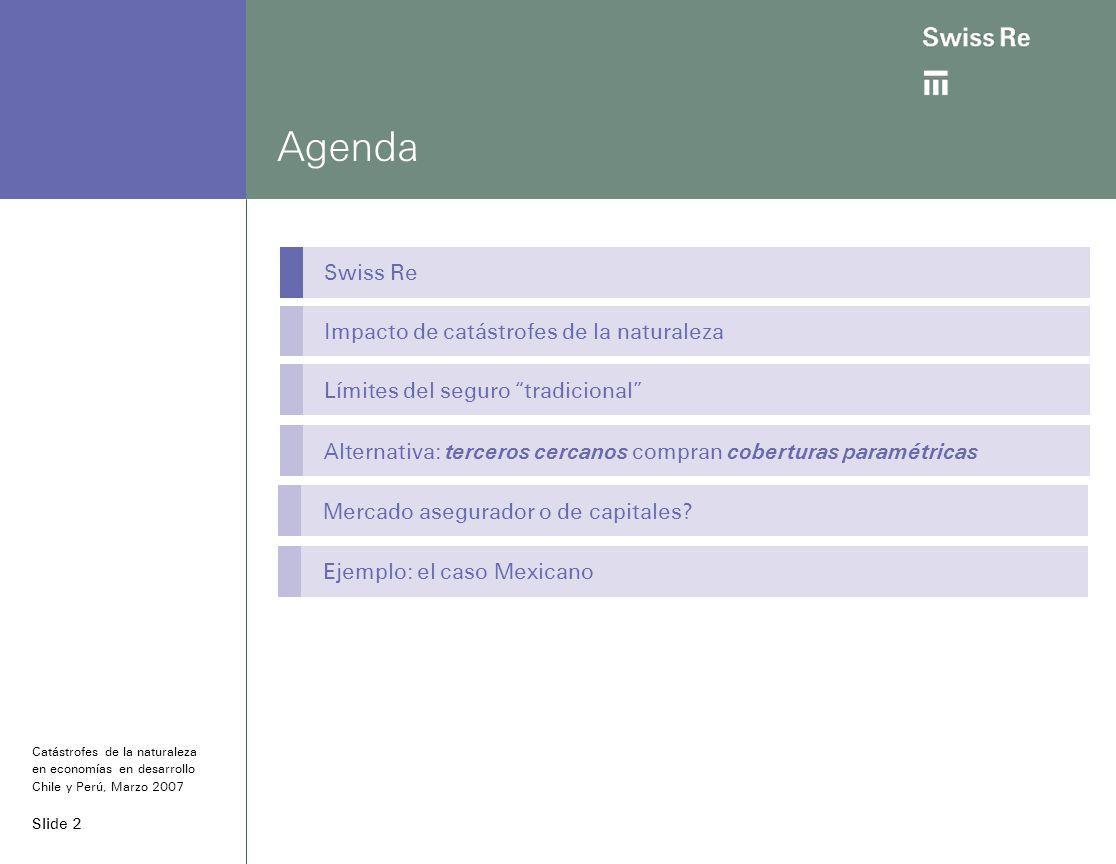 Slide 2 Agenda Swiss Re Impacto de catástrofes de la naturaleza Límites del seguro tradicional Alternativa: terceros cercanos compran coberturas paramétricas Catástrofes de la naturaleza en economías en desarrollo Chile y Perú, Marzo 2007 Mercado asegurador o de capitales.