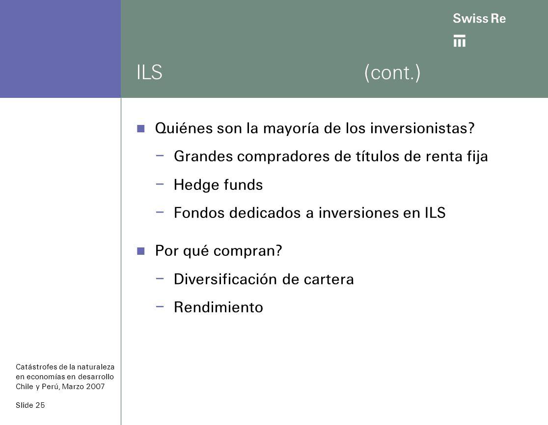 Slide 25 ILS(cont.) Quiénes son la mayoría de los inversionistas.