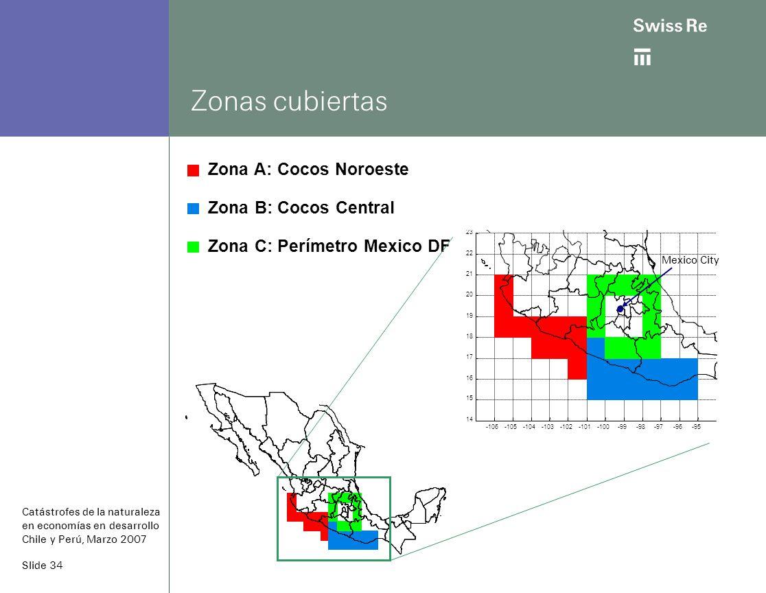 Slide 34 Zonas cubiertas Zona A: Cocos Noroeste Zona B: Cocos Central Zona C: Perímetro Mexico DF Catástrofes de la naturaleza en economías en desarrollo Chile y Perú, Marzo 2007