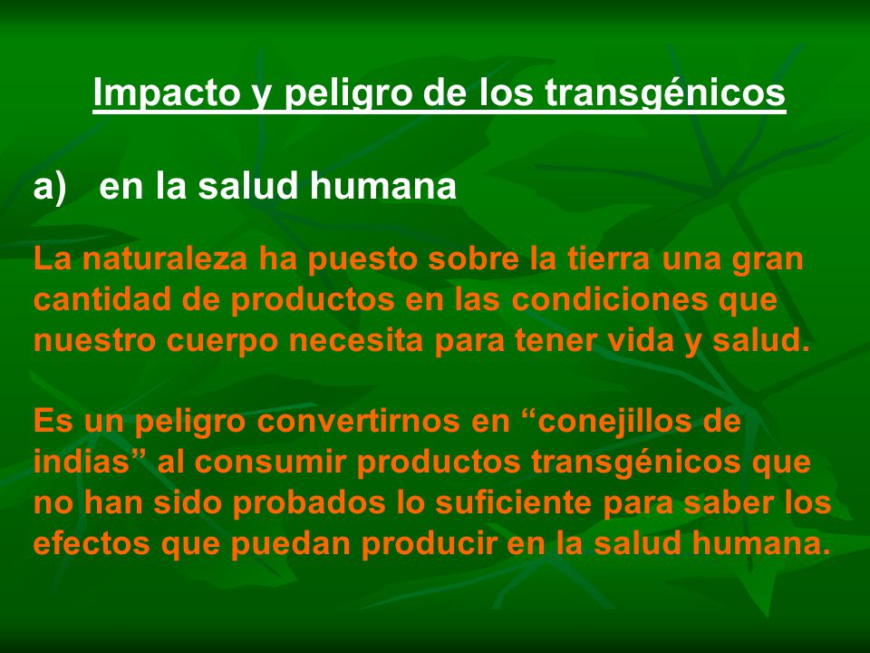 Impacto y peligro de los transgénicos a) en la salud humana La naturaleza ha puesto sobre la tierra una gran cantidad de productos en las condiciones que nuestro cuerpo necesita para tener vida y salud.