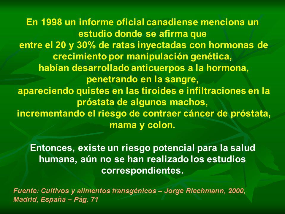 En 1998 un informe oficial canadiense menciona un estudio donde se afirma que entre el 20 y 30% de ratas inyectadas con hormonas de crecimiento por manipulación genética, habían desarrollado anticuerpos a la hormona, penetrando en la sangre, apareciendo quistes en las tiroides e infiltraciones en la próstata de algunos machos, incrementando el riesgo de contraer cáncer de próstata, mama y colon.