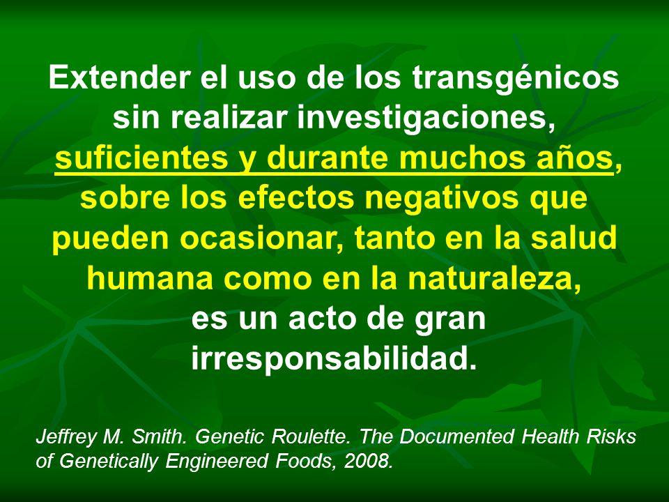 Extender el uso de los transgénicos sin realizar investigaciones, suficientes y durante muchos años, sobre los efectos negativos que pueden ocasionar,