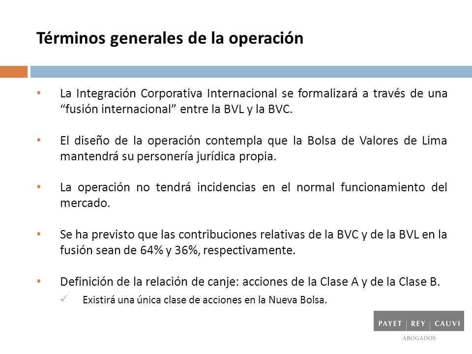 Estructura de la operación La estructura de la operación ha sido diseñada sobre la base de las siguientes premisas: Simplicidad Aceptable para el mercado Aceptable para los reguladores Neutralidad tributaria Accionistas de la BVL y la BVC Nueva Bolsa (Colombia) Sucursal Bogotá (BVC) BVL S.A.