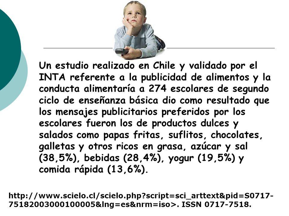 Un estudio realizado en Chile y validado por el INTA referente a la publicidad de alimentos y la conducta alimentaría a 274 escolares de segundo ciclo
