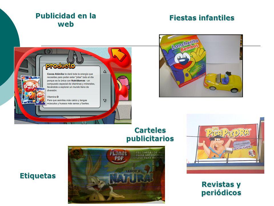 Publicidad en la web Fiestas infantiles Carteles publicitarios Revistas y periódicos Etiquetas