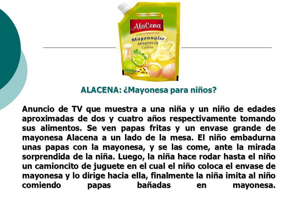 ALACENA: ¿Mayonesa para niños? Anuncio de TV que muestra a una niña y un niño de edades aproximadas de dos y cuatro años respectivamente tomando sus a