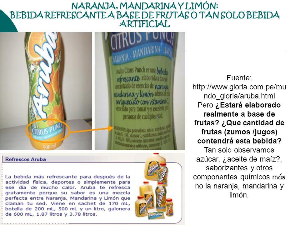 NARANJA, MANDARINA Y LIMÓN: BEBIDA REFRESCANTE A BASE DE FRUTAS O TAN SOLO BEBIDA ARTIFICIAL Fuente: http://www.gloria.com.pe/mu ndo_gloria/aruba.html
