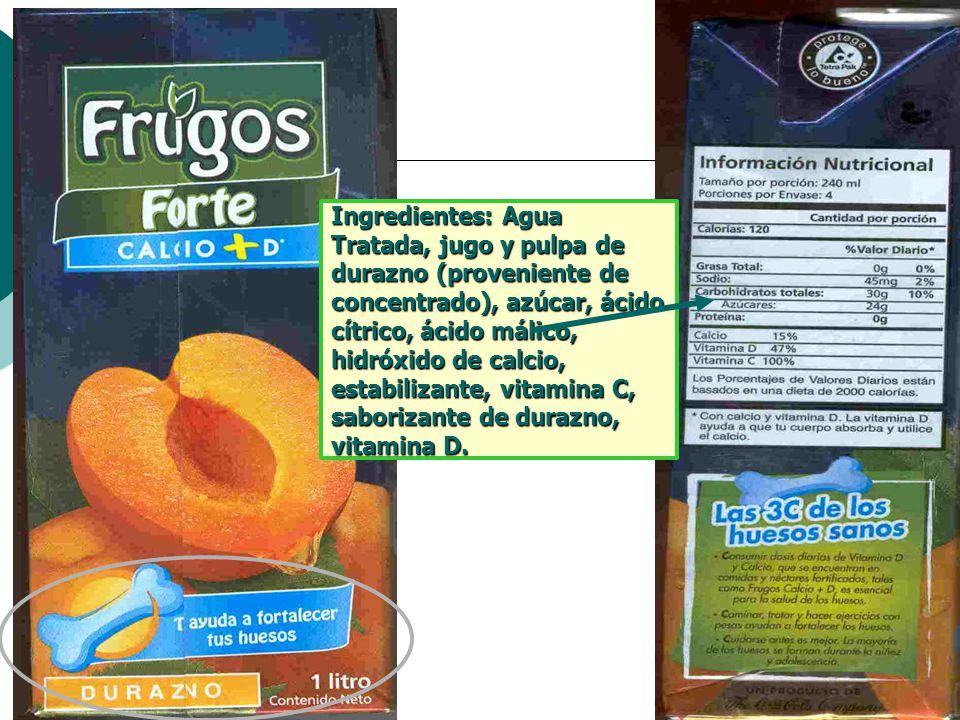 Ingredientes: Agua Tratada, jugo y pulpa de durazno (proveniente de concentrado), azúcar, ácido cítrico, ácido málico, hidróxido de calcio, estabiliza