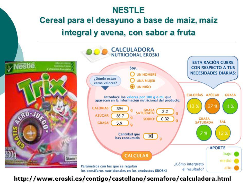 NESTLE Cereal para el desayuno a base de maíz, maíz integral y avena, con sabor a fruta http://www.eroski.es/contigo/castellano/semaforo/calculadora.h