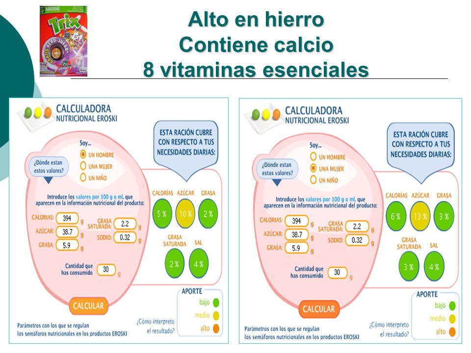 Alto en hierro Contiene calcio 8 vitaminas esenciales