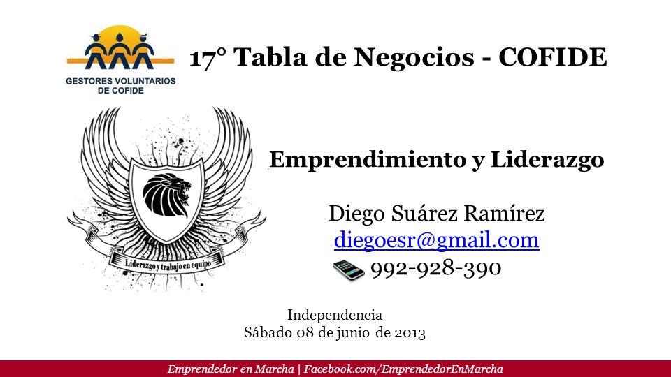 Emprendedor en Marcha | Facebook.com/EmprendedorEnMarcha 17° Tabla de Negocios - COFIDE Emprendimiento y Liderazgo Diego Suárez Ramírez diegoesr@gmail