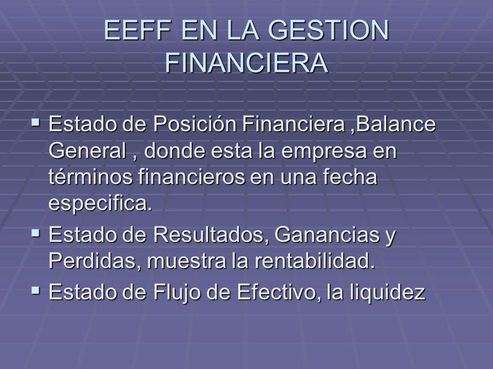 EEFF EN LA GESTION FINANCIERA Estado de Posición Financiera,Balance General, donde esta la empresa en términos financieros en una fecha especifica. Es