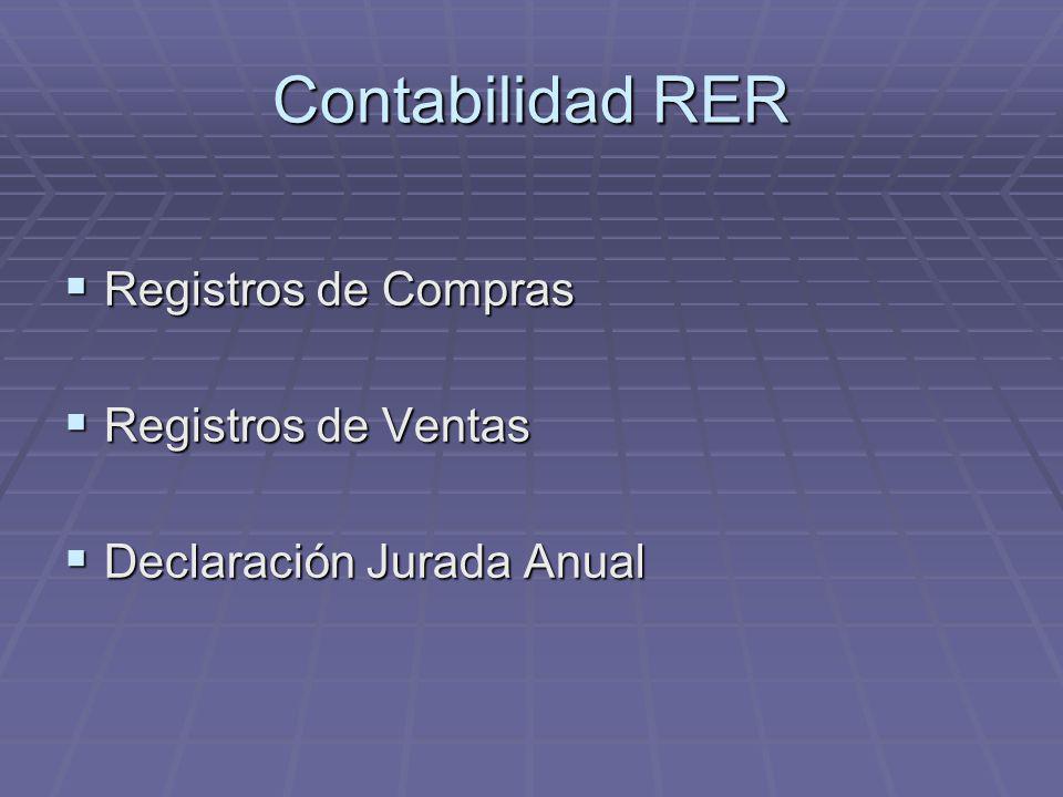 Contabilidad RER Registros de Compras Registros de Compras Registros de Ventas Registros de Ventas Declaración Jurada Anual Declaración Jurada Anual