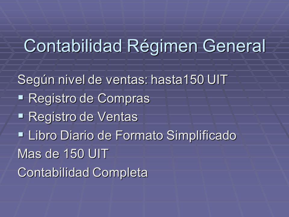 Contabilidad Régimen General Según nivel de ventas: hasta150 UIT Registro de Compras Registro de Compras Registro de Ventas Registro de Ventas Libro D