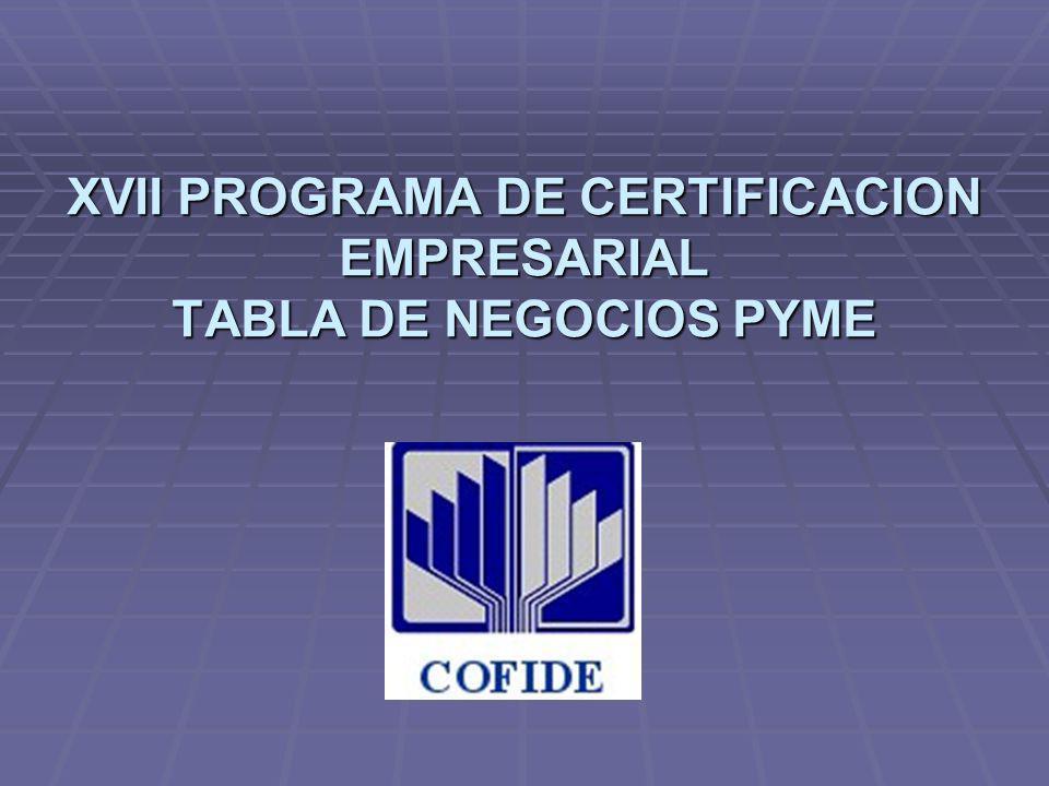 XVII PROGRAMA DE CERTIFICACION EMPRESARIAL TABLA DE NEGOCIOS PYME