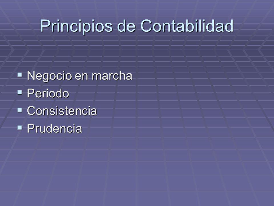 Principios de Contabilidad Negocio en marcha Negocio en marcha Periodo Periodo Consistencia Consistencia Prudencia Prudencia