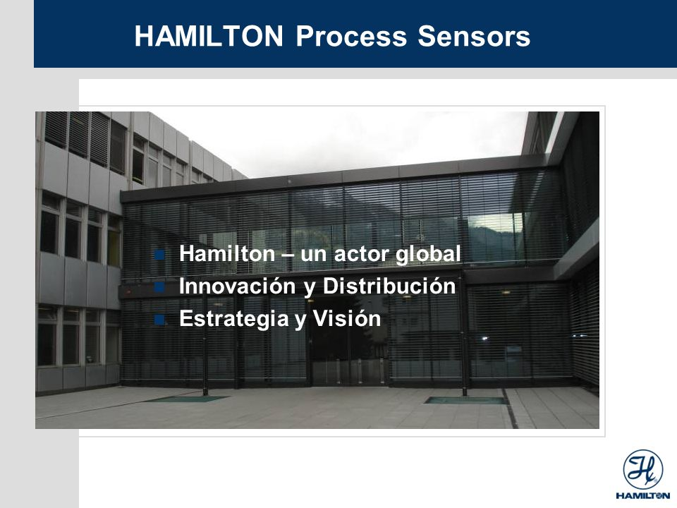 HAMILTON Process Sensors Hamilton – un actor global Innovación y Distribución Estrategia y Visión