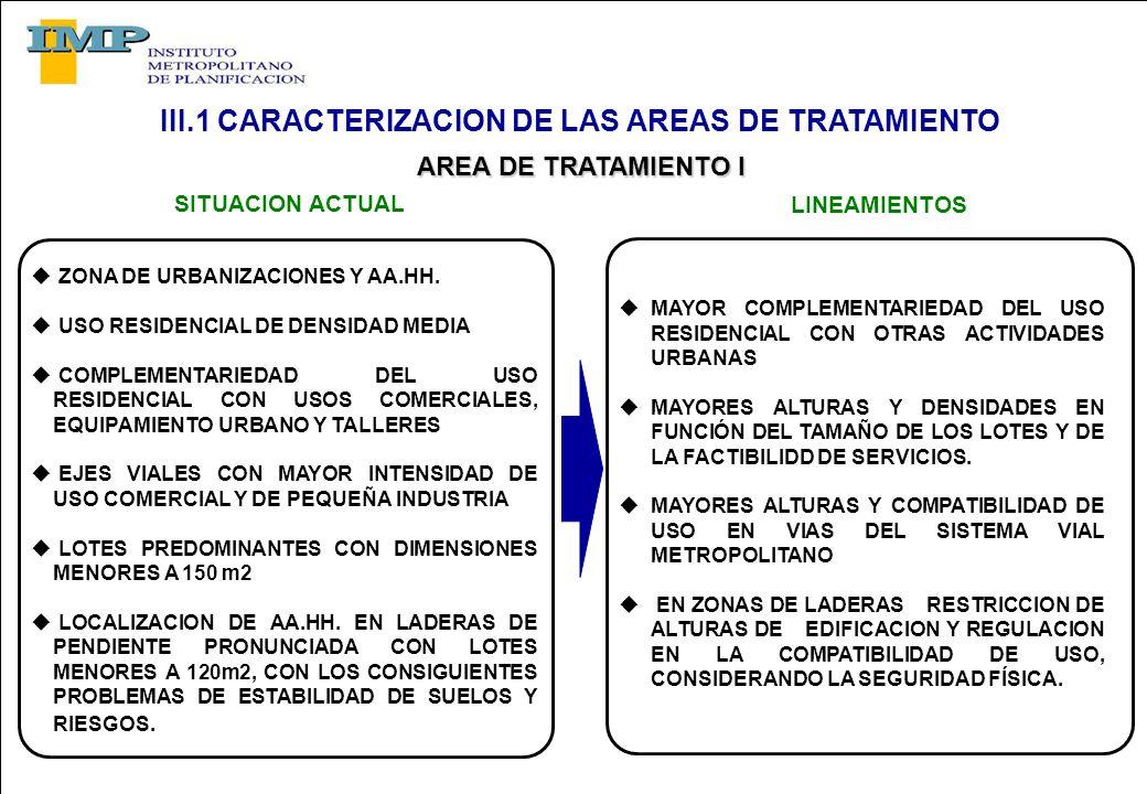 AREA DE TRATAMIENTO I AREA DE TRATAMIENTO I ZONA DE URBANIZACIONES Y AA.HH.