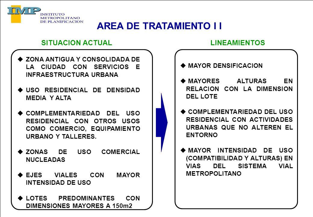 AREA DE TRATAMIENTO I I ZONA ANTIGUA Y CONSOLIDADA DE LA CIUDAD CON SERVICIOS E INFRAESTRUCTURA URBANA USO RESIDENCIAL DE DENSIDAD MEDIA Y ALTA COMPLEMENTARIEDAD DEL USO RESIDENCIAL CON OTROS USOS COMO COMERCIO, EQUIPAMIENTO URBANO Y TALLERES.