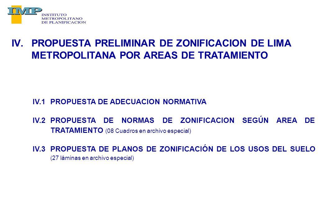IV.PROPUESTA PRELIMINAR DE ZONIFICACION DE LIMA METROPOLITANA POR AREAS DE TRATAMIENTO IV.1PROPUESTA DE ADECUACION NORMATIVA IV.2PROPUESTA DE NORMAS DE ZONIFICACION SEGÚN AREA DE TRATAMIENTO (08 Cuadros en archivo especial) IV.3PROPUESTA DE PLANOS DE ZONIFICACIÓN DE LOS USOS DEL SUELO (27 láminas en archivo especial)
