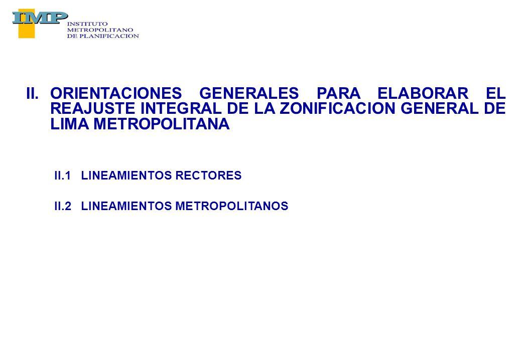 II.ORIENTACIONES GENERALES PARA ELABORAR EL REAJUSTE INTEGRAL DE LA ZONIFICACION GENERAL DE LIMA METROPOLITANA II.1 LINEAMIENTOS RECTORES II.2 LINEAMIENTOS METROPOLITANOS