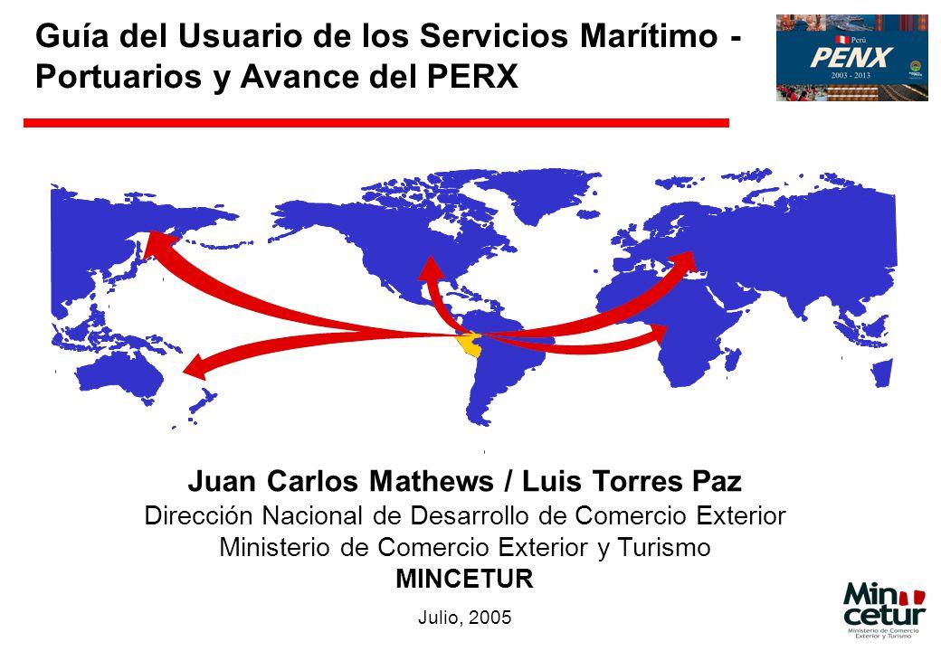 Guía del Usuario de los Servicios Marítimo - Portuarios y Avance del PERX Juan Carlos Mathews / Luis Torres Paz Dirección Nacional de Desarrollo de Co