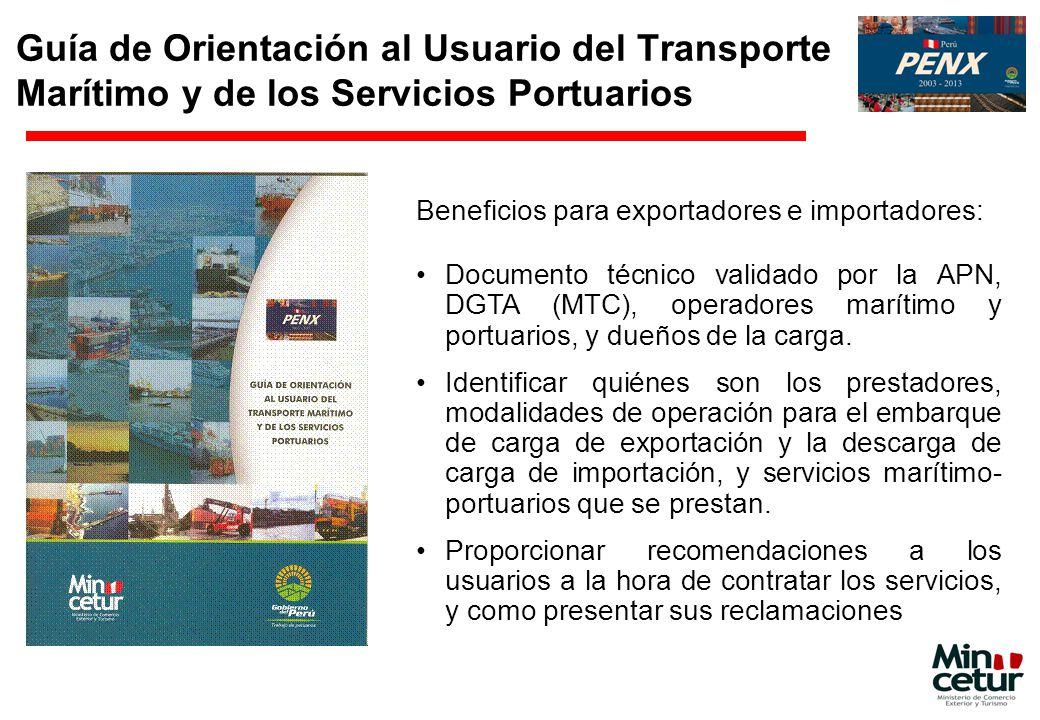 Guía de Orientación al Usuario del Transporte Marítimo y de los Servicios Portuarios Beneficios para exportadores e importadores: Documento técnico va