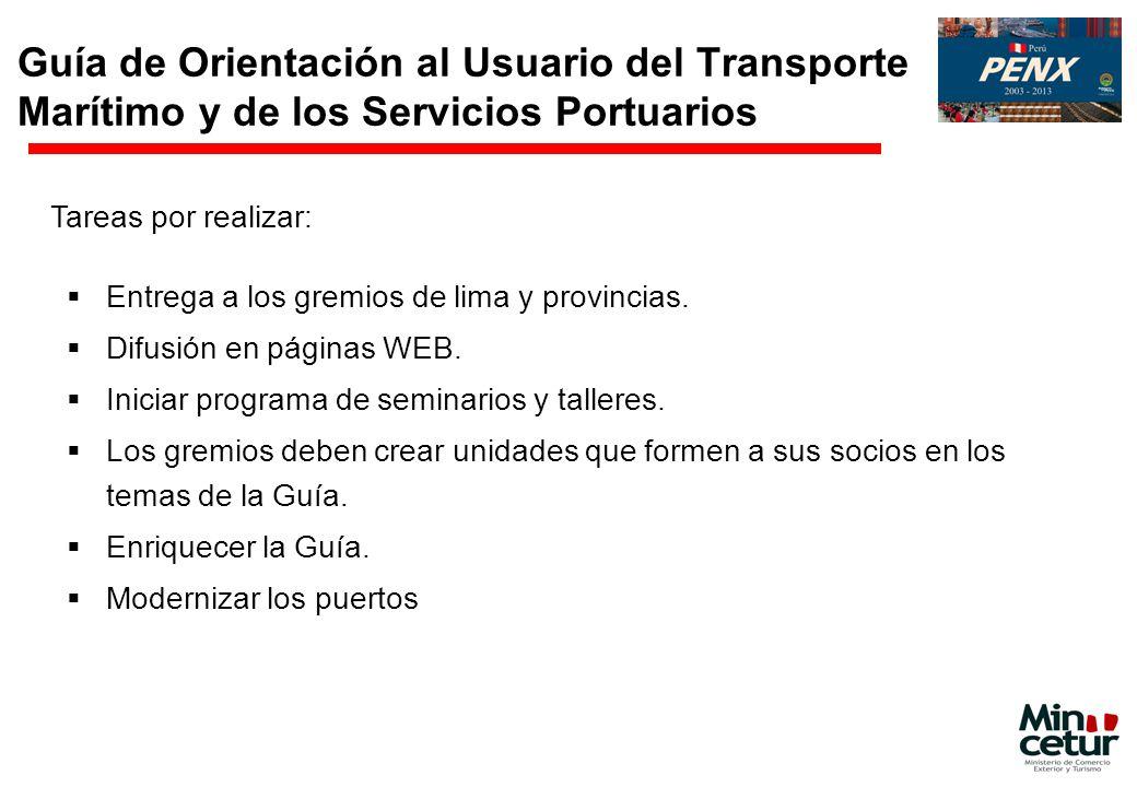 Guía de Orientación al Usuario del Transporte Marítimo y de los Servicios Portuarios Entrega a los gremios de lima y provincias. Difusión en páginas W